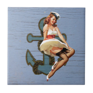 Beach Girl Nautical Anchor Pin Up Girl Sailor Tile