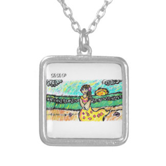 beach girl silver plated necklace