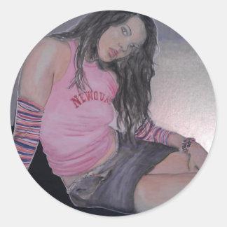 Beach girl, watercolour classic round sticker