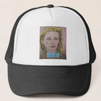beach girl with flowers in her wet hair trucker hat