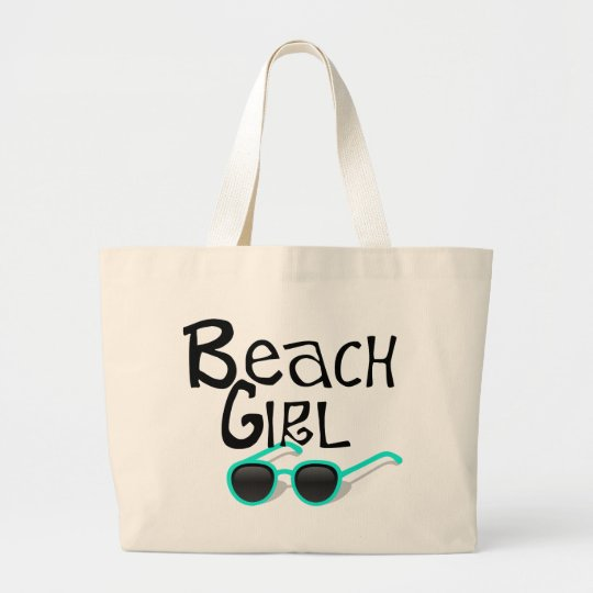 Beach Girl with sunglasses Large Tote Bag