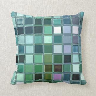 Beach Glass Mosaic Tile Art Throw Pillow