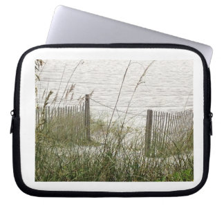 Beach Grass and Fence Laptop Sleeves