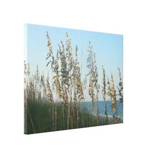 Beach Grass and Ocean at Dusk Gallery Wrap Canvas