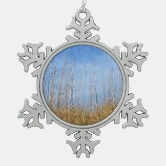 Beach Grass Pewter Snowflake Decoration