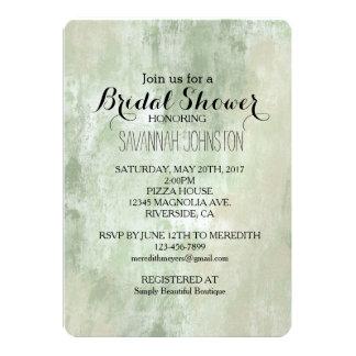 Beach Green Cream Sand abstract bridal shower 13 Cm X 18 Cm Invitation Card
