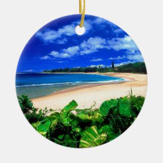Beach Haena Kauai Hawaii Round Ceramic Decoration