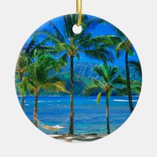 Beach Hammock Kauai Hawaii Round Ceramic Decoration
