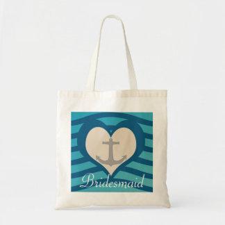 Beach Heart & Anchor Bridesmaid Tote
