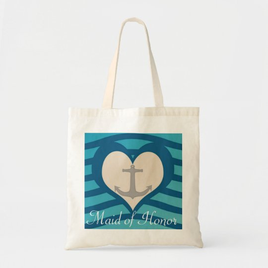 Beach Heart & Anchor Maid of Honour Tote
