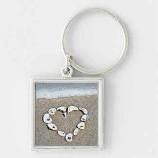 Beach Heart in Seashells Romantic Design Key Ring