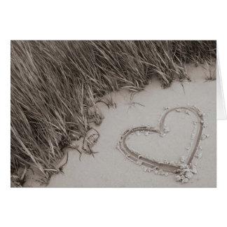 Beach Heart Sepia Greeting Card