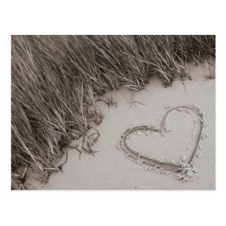 Beach Heart Sepia Postcard