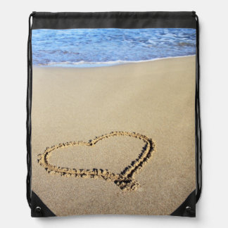 Beach Hearts In Sand Cinch Bags