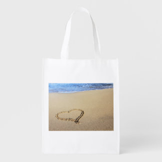 Beach Hearts In Sand Reusable Grocery Bag