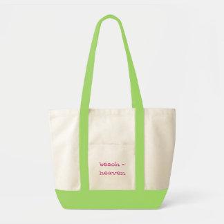 beach = heaven tote bags