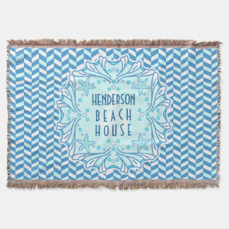 Beach House Art Deco Shell and Herringbone Custom Throw Blanket