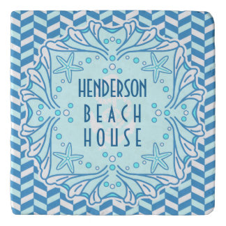 Beach House Art Deco Shell and Herringbone Custom Trivet