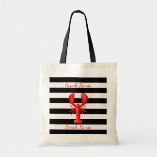 Beach House black white stripes with red lobster Tote Bag