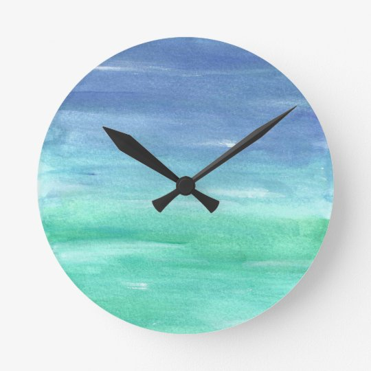 Beach house blue green abstract painting clock