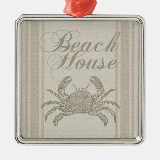 Beach House Crab Sandy Coastal Decor Christmas Ornament