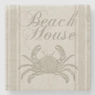 Beach House Crab Sandy Coastal Decor Stone Coaster