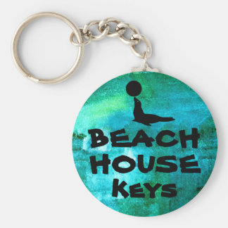 Beach House Key Basic Round Button Key Ring