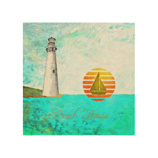 Beach House Lighthouse Ocean Coastal Wood Print