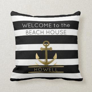 Beach House Nautical Anchor Family Name B&W Stripe Cushion