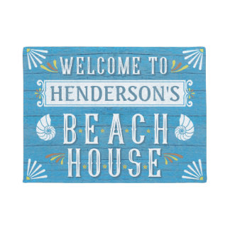 Beach House Nautical Coastal Shells Custom Name v2 Doormat
