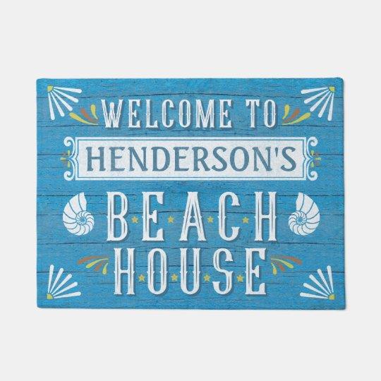 Beach House Nautical Coastal Shells Custom Name v2