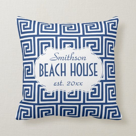 Beach House Nautical Navy Key Deco Personalised Cushion