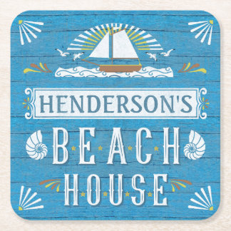 Beach House Nautical Sailboat Seashells Your Name Square Paper Coaster