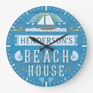 Beach House Nautical Sailboat Shells Custom Name Large Clock