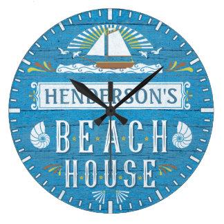 Beach House Nautical Sailboat Shells Custom Name Wall Clock