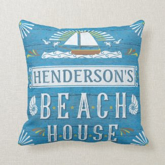 Beach House Nautical Sailboat Shells Personalised Cushion