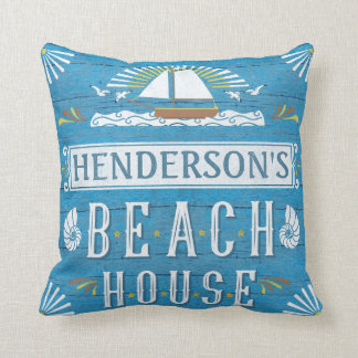 Beach House Nautical Sailboat Shells Personalized Cushion