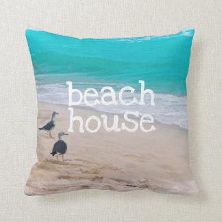 beach house ocean art pillow
