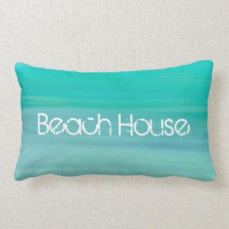 Beach House on aquamarine gree ocean Lumbar Pillow