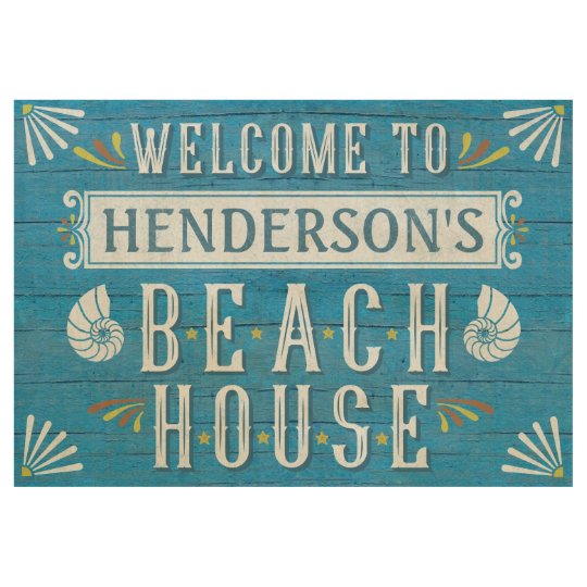 Beach House Personalised Coastal Nautical Blue Wood Poster