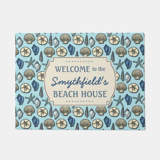 Beach House Personalised Sea Shells Blue Nautical Doormat