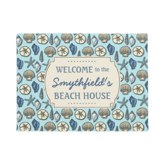 Beach House Personalized Sea Shells Blue Nautical Doormat
