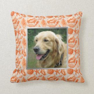 Beach House Pet Photo Orange Seashells Accent Cushion
