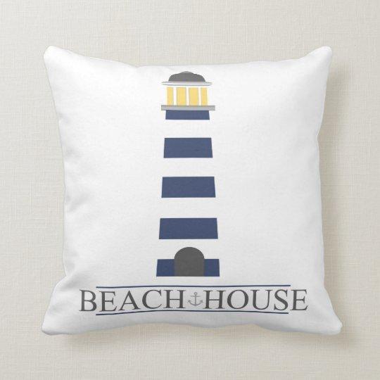 Beach House Pillow. Navy Blue Lighthouse Cushion