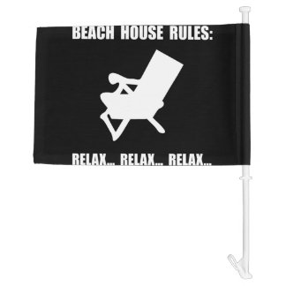 Beach House Rules Car Flag