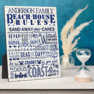 Beach House Rules Coastal Blue Personalized Family Plaque
