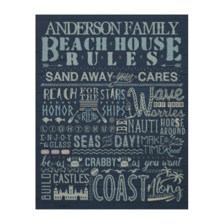 Beach House Rules Family Cottage Blue Custom Name Wood Print