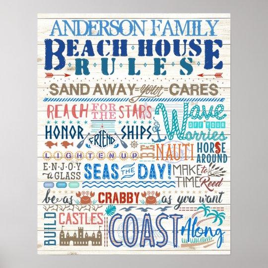 Beach House Rules Family Cottage | Custom Coastal