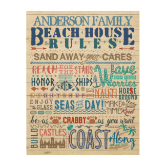Beach House Rules Family Cottage Sign Custom Name