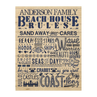 Beach House Rules Navy Blue Custom Family Coastal Wood Wall Art